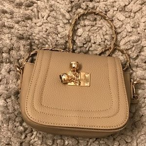 Other - Kid Tan Purse With Gold Bells Trim Strape